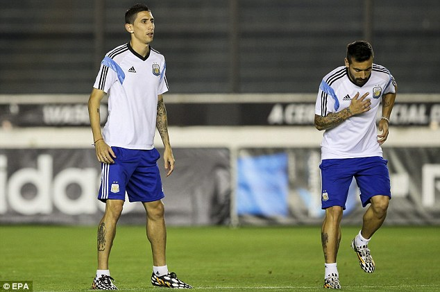 Expensive: Di Maria (left) could cost up to £50million after he returns from the World Cup with Argentina