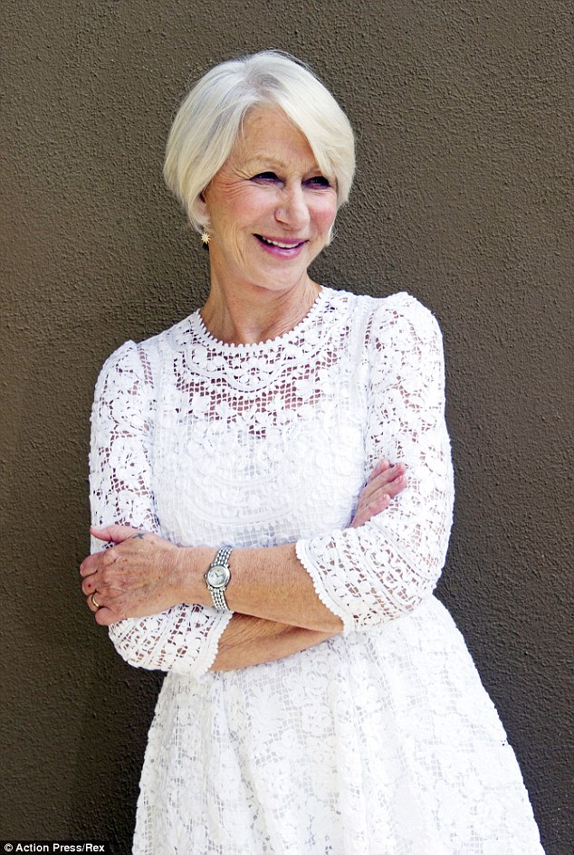 Regally dressed: Helen wore a gorgeous white lace dress for her photocall in LA