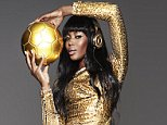 """EMBARGO UNTIL MONDAY 14 JULY (PRINT EDITIONS ONLY) - ONLINE RIGHTS MUST CALL: Susie Asbury - 07970 402931 / 0207 739 8644 / World Cup themed shoot with Naomi Campbell - THE HERO SHOT / ** TERMS ** / TERMS AND CONDITIONS FOR PHOTOGRAPH USAGE AND CREDIT INFORMATION: The Naomi Campbell Hero Image is under STRICT PUBLICATION EMBARGO UNTIL MONDAY 14 JULY (PRINT EDITIONS ONLY) Photography credit MUST be:  """"Rankin / Beats By Dre"""" (Hi res image being sent separately via We Transfer) Text must state prominently that Naomi is sporting the one-off money can't buy 24 carat gold dipped Beats by Dr Dre Pros that each member of the winning World Cup team will receive Naomi went to see Eminem last night and went out with Dre - she also commented on shoot that Eminem 'Lose Yourself' was one of her favourite tracks This is the first time Naomi has been shot by Rankin On the shoot Naomi was wearing - Dress: Tom Ford, Shoes: Christian Louboutin The Beats by Dre 24 Carat Pro?s were plated by the same team"""