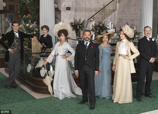 All-white: The US-style diversity 'quota' system would see an agreed number of minority actors guaranteed roles. The cast of ITV period drama Mr Selfridge are pictured
