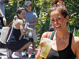Brooke Burke shows off her natural beauty as she goes make-up free while cuddling youngest child Shaya after a workout