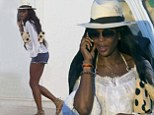 Stepping out: The supermodel looked casually chic as she headed out in Ibiza