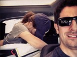 Fast food: Jason Biggs posted a picture on Instagram of his wife, Jenny Mollen, committing what he dubbed 'Driving While Breastfeeding' on Sunday