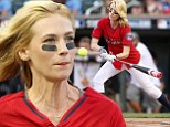 What a hit! January Jones rocks a professional baseball uniform while scoring one for her team at a celebrity sports tournament in Minneapolis