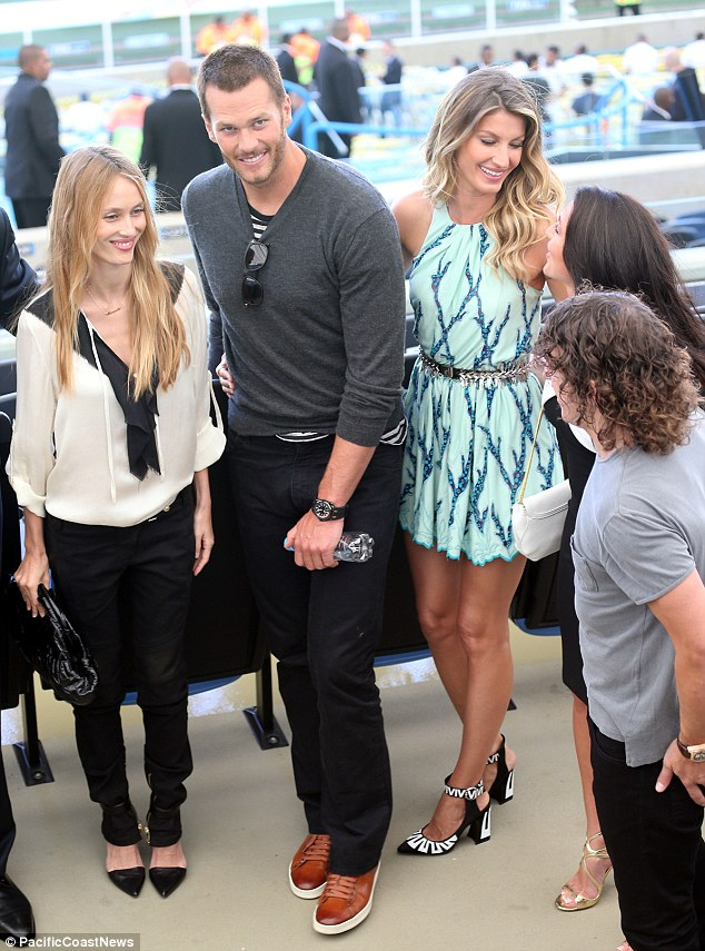 Happy couple: The former Victoria's Secret Angel was joined by her husband Tom Brady, 36