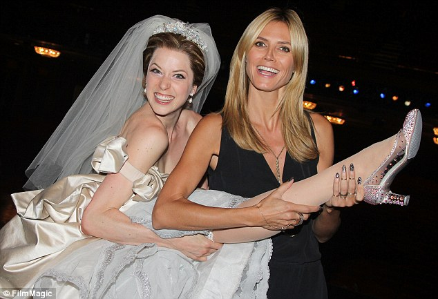 Glas slipper: Heidi Klum goofed around with Broadway star Paige Faure on Saturday after watcher her perform the title role in Cinderella