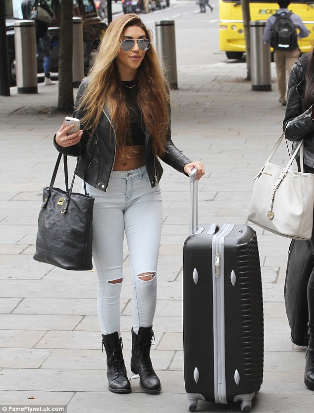 She's off: Chantel was seen arriving at the Eurostar to head to Paris on Friday