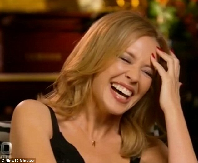 Fits of giggles! Kylie Minogue was reduced to snorting with laughter when Karl Stefanovic tried out Michael Hutchence's infamous chat up line on the pop princess during Sunday night's 60 Minute interview