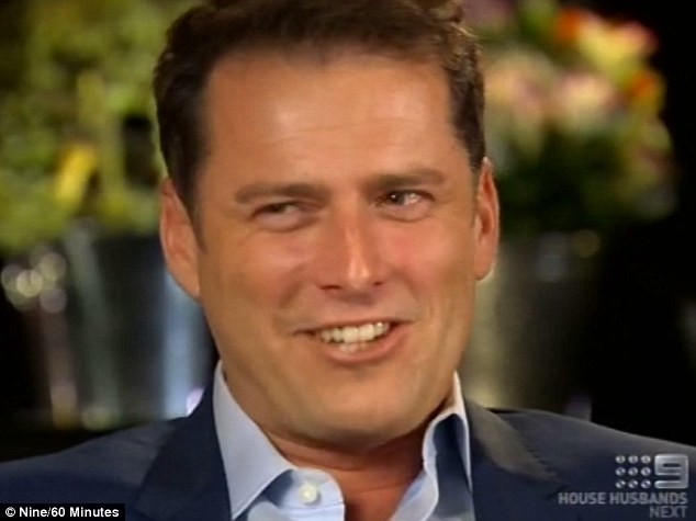 Joker: Karl bravely attempted the risque chat-up line Michael is said to have given to Kylie, but ended up snorting with laughter