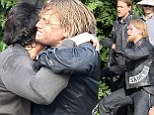 Twice the hotness! Charlie Hunnam gets some help from look-alike stunt double during brutal fight scene on set of Sons Of Anarchy