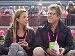 Happy snap: Hugh Grant and Anna Eberstein spend quality time together in Sweden at a tennis match