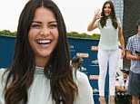 Jubilant: Bachelorette's Andi Dorfman smiled as she showed off her thin pins on the set of Extra in Universal City, California on Monday
