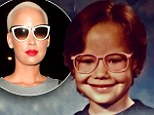Before she was famous! Amber Rose wears geeky pink glasses and sports brown hair in adorable Eighties throwback shot
