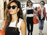 Lily Collins nails off-duty chic in oranger jacket and boyfriend jeans while Nicole Scherzinger works casual sporty ensemble at Heathrow airport