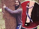 'You guys are nuts!' Jared Leto is a fan of hugging meme which sees the rocker wrap himself around Angelina Jolie's leg and embrace New York skyscrapers