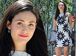 Shameless-ly stylish! Emmy Rossum flaunts toned legs in flower power mini dress as she carries TV show script to set