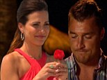 Final two: Andi Dorfman went through a rose ceremony on Monday's episode of The Bachelorette after Chris left but Nick and Josh remained