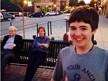 'Chillin with my homies': Tom White is seen with 'friends' Paul McCartney and Warren Buffet sitting behind him on a bench in Dundee, Nebraska
