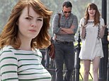 Emma Stone spotted for first time on set with co-star Joaquin Phoenix as they begin shooting new Woody Allen film in Rhode Island