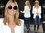 Making it work! Heidi Klum displays her effortless supermodel style in a chic casual ensemble as she promotes the new season of Project Runway in New York