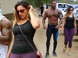 Kelly Brook goes make-up free as she works out with fiance David McIntosh... who turns heads in tight gym gear