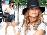 Cowgirl from the block! Jennifer Lopez displays her toned legs in a miniskirt teamed with a Western hat and fringed Chanel bag