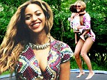 Jumping for joy! Beyonce and Blue Ivy bounce on trampoline and relax with Jay-Z in the garden in carefree website snaps