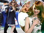 Ready for her close-up: Emma Stone gets some last-minute touch-ups as she promotes new Woody Allen movie during TV appearance