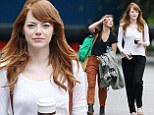 She's a natural beauty! Emma Stone looks stunning while make-up free and dressed down on set of new Woody Allen movie