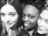 The face of an angel! Miranda Kerr poses with Victoria's Secret Angel in a candid black and white snap
