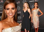 Jessica Alba and Cameron Diaz flex their toned biceps in knee-length frocks to present ESPY Awards