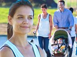 Movie family: Katie Holmes and Ryan Reynolds filmed family scenes on Wednesday with a baby in Los Angeles for the movie Woman In Gold