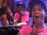 Make-up free Angela Simmons pulls faces while casually dining with her assistant in NYC
