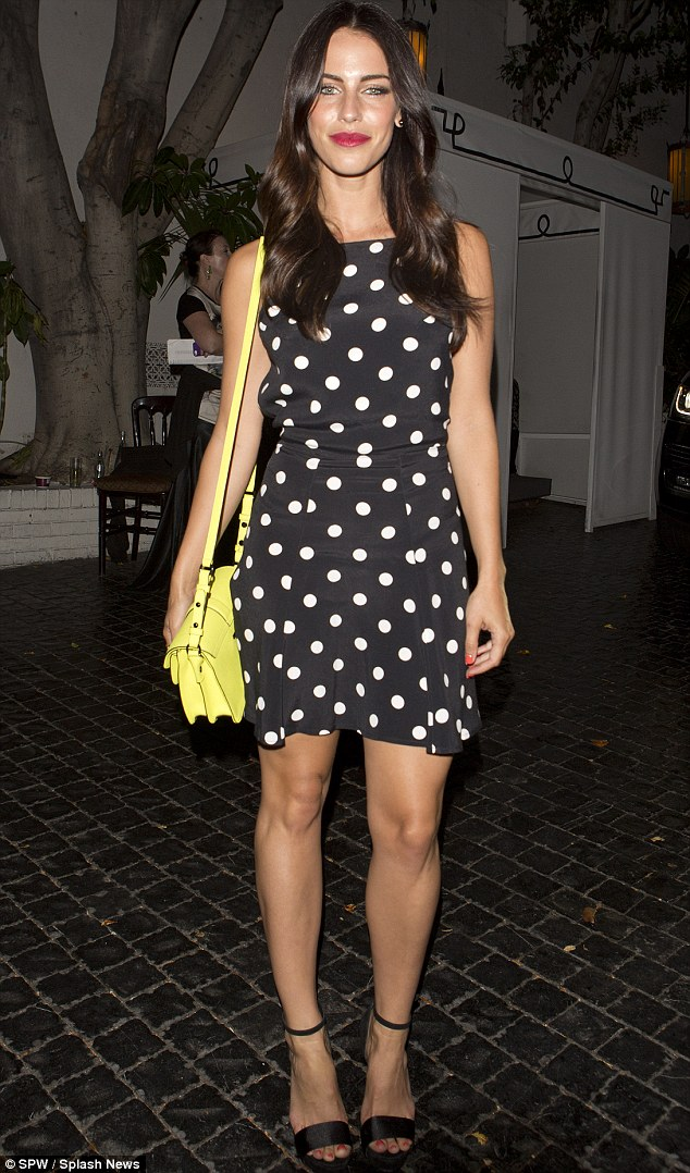 Leggy lady: Jessica Lowndes, 25, turned heads as she left the celeb-favourite Chateau Marmont Hotel in West Hollywood last Saturday night