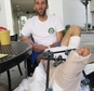 Gregg Hein, who broke his leg on a solo hike in the Sierra Nevada mountains, recovers at the Community Regional Medical Center in Fresno, Calif. on Wednesday...