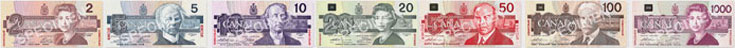 Canadian banknotes from 1986 to 1991