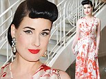 Dita Von Teese wore a glamorous orange and white paisley gown to the Los Angeles launch party of beauty app Vensette on July 15