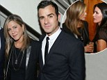 In demand: Jennifer Aniston spends Tuesday evening with beau Justin Theroux and best friend Courteney Cox