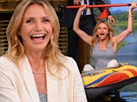 Whatever floats your boat! Cameron Diaz promotes new movie Sex Tape by rowing an inflatable kayak around Jimmy Fallon studio