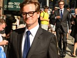 Colin Firth makes a woman lose her shoe at the side of the road as he arrives in suave get up