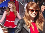 Emma Stone channels Little Orphan Annie in red dress for Letterman and reveals her late grandfather haunts her