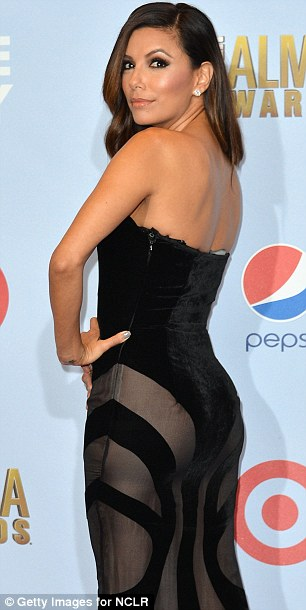 A cheeky glimpse: Eva wore this risque dress to the ALMA Awards in Pasadena last week