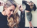 Taut and terrific: Newlywed Nikki Phillips flaunts toned stomach in black laced top and metallic pencil skirt
