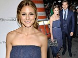 Coordinated: Olivia Palermo and her new husband Johannes Huebl look picture perfect on the red carpet at the New York premiere of Magic In The Moonlight
