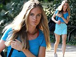 Cressida Bonas showcases toned physique in blue crop top and a turquoise mini-skirt as she prepares to perform in London play