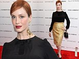 Spellbinding! Christina Hendricks dazzles in gold lace skirt as she covers her voluptuous figure at Magic In The Moonlight premiere