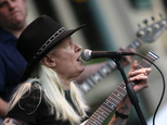 FILE - In this Friday, June 19, 2009 file photo, Johnny Winter plays during the Canton Blues Festival 2009 in downtown Canton, Ohio. Texas blues icon Johnny ...