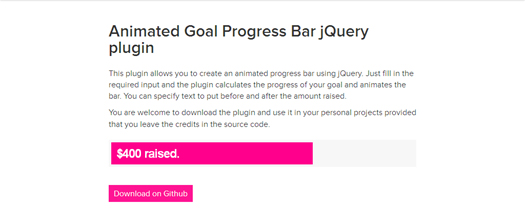 Animated Goal Progress Bar jQuery Plugin