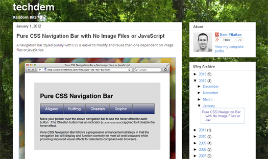 Pure CSS Navigation Bar with No Image Files or JavaScript