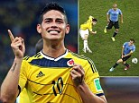 All smiles: James Rodriguez has won the World Cup Goal of the Tournament award